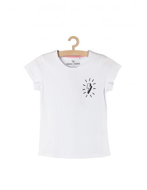 Bawełniany t-shirt dla dziewczynki- biały