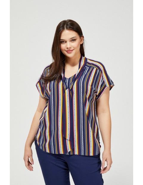 Bluzka damska koszulowa w paski na krótki rękaw z ozdobnym wiązaniem granatowa