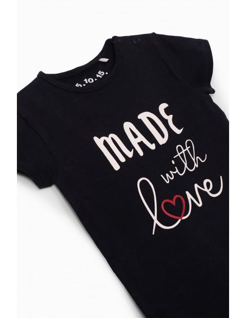 Body dziewczęce z napisem Made With Love - granatowe