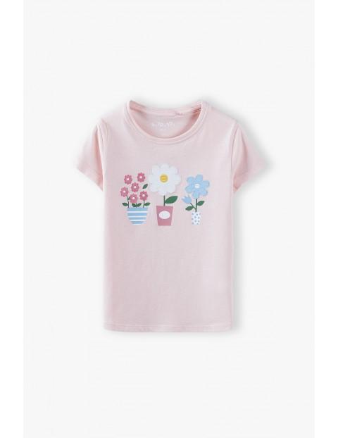 Bawełniana bluzka dziewczęca z kwiatkami - różowa