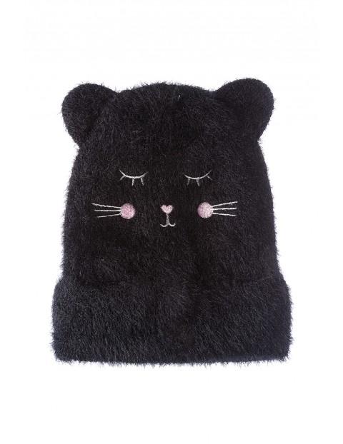Czapka zimowa dziewczęca czarna z buzią i uszami kota