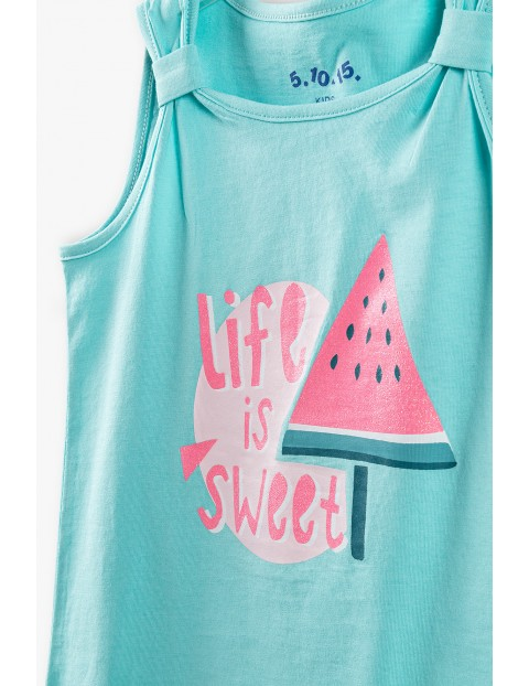 Bluzka dziewczęca  z napisem Life is Sweet - niebieska