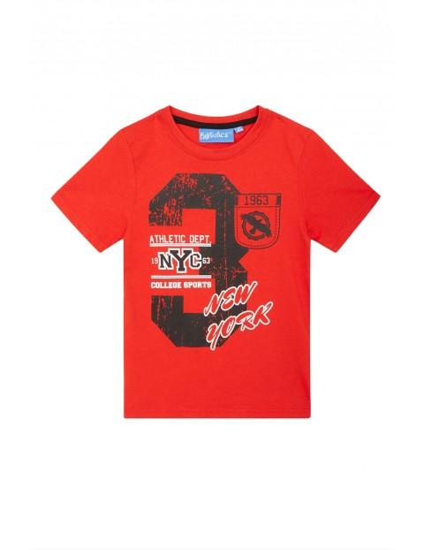Luźny bawełniany t-shirt chłopięcy- czerwony