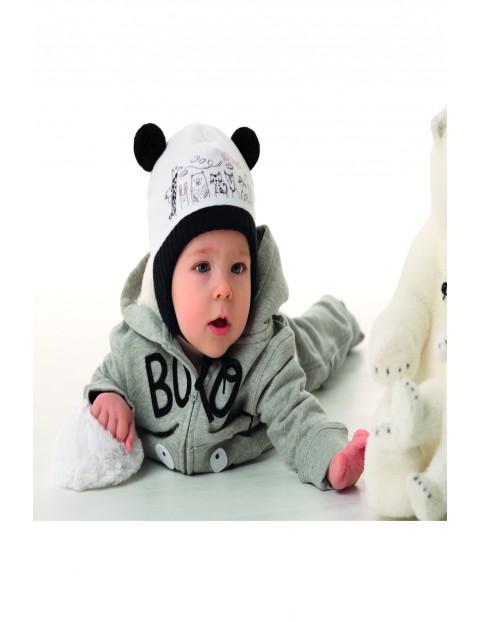 Czapka chłopięca zimowa wiązana- Małe Zoo