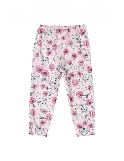 Spodnie niemowlęce w kwiatki - różowe