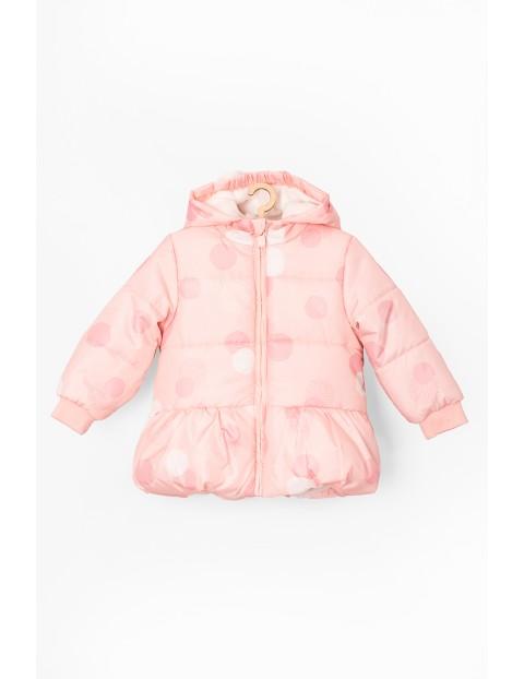 Kurtka zimowa dla niemowlaka- różowa z polarową podszewką