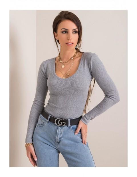 Bluzka damska z długim rękawem - szara