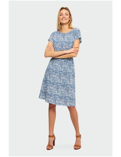 Niebieska sukienka damska z krótkim rękawem- niebieska