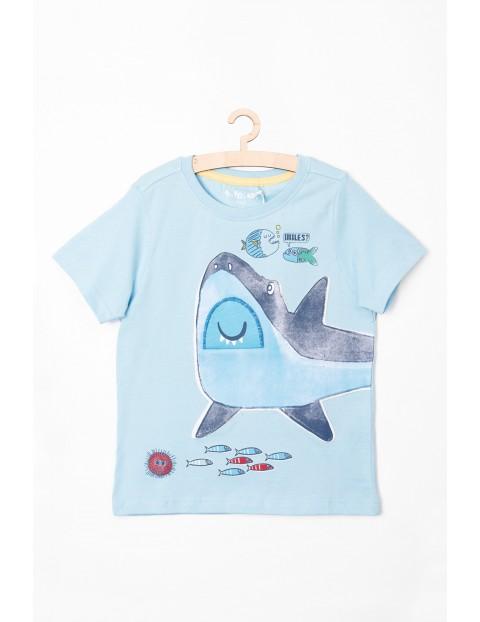 Niebieski t-shirt z rekinem