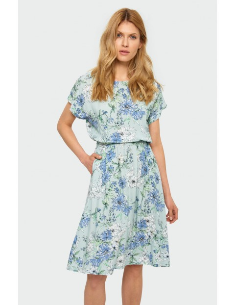 Sukienka damska w kwiaty krótki rękaw
