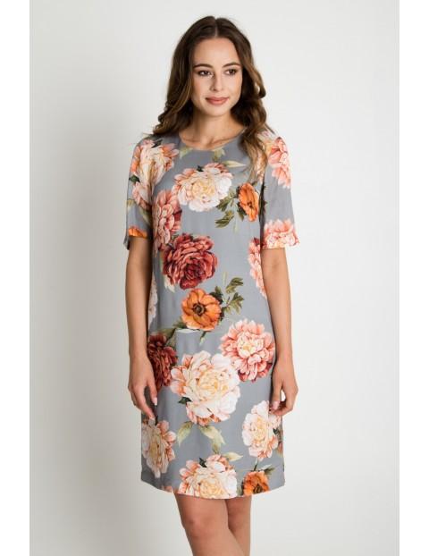Sukienka damska w kwiaty z krótkim rękawem