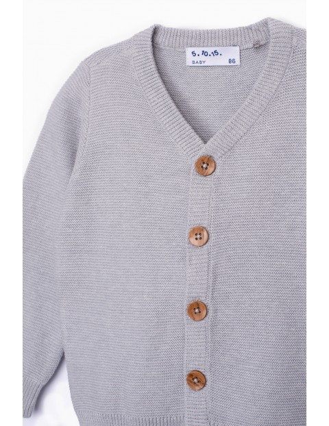 Sweterek niemowlęcy rozpinany w kolorze szarym