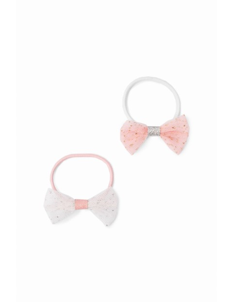 Gumki do włosów w kształcie kokardek - biała i różowa