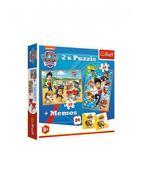 Puzzle Psi Patrol 2w1 + memos - Psi Patrol na ratunek 3+