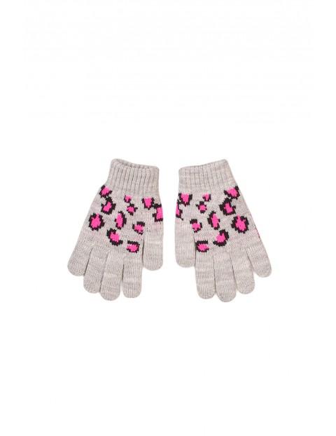 Rękawiczki dziewczęce w panterkę