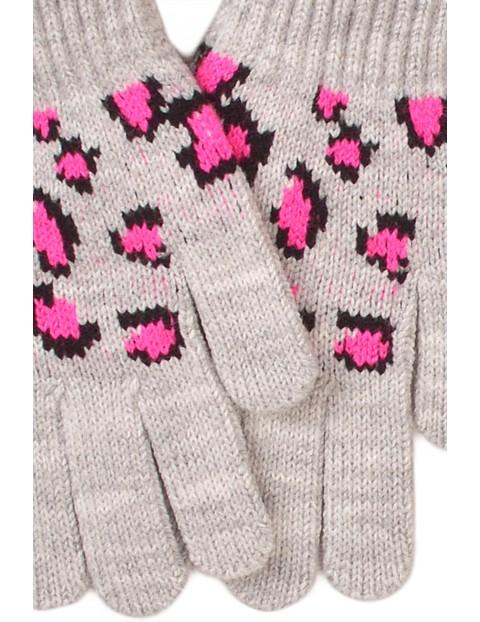 Rękawiczki dziewczęce szare w panterkę