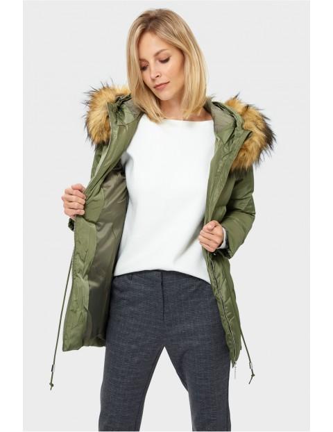 Zimowa kurtka damska- pikowana zielona rozm.38