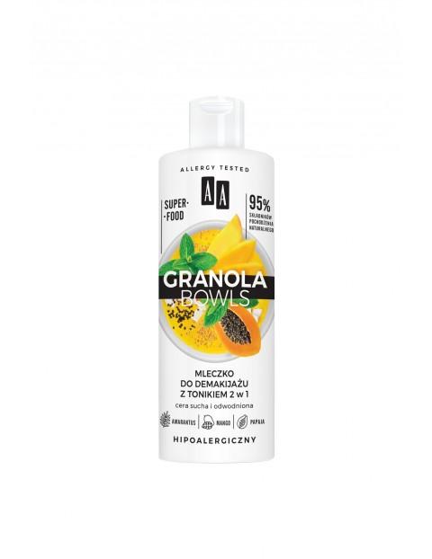 AA Granola Bowls mleczko do demakijażu z tonikiem 2w1 cera sucha i odwodniona 400 ml