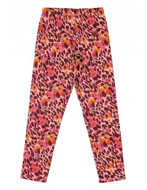 Spodnie dziewczęce w kwiaty -  różowe