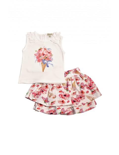 Komplet dziewczęcy koszulka i kolorowa  spódniczka