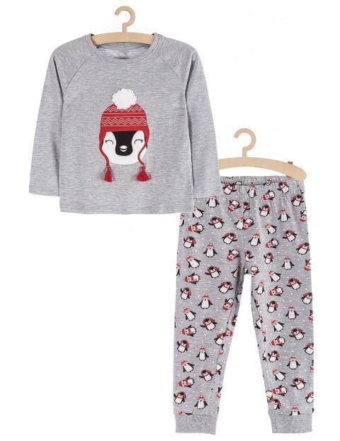 Pidżama dziewczęca szara - Pingwiny