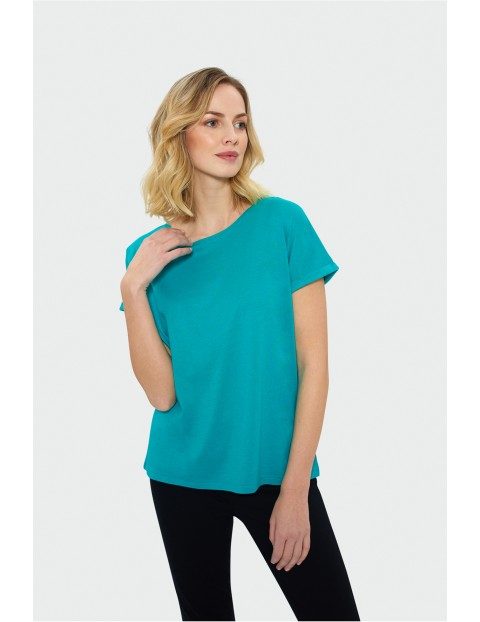 Niebieski t-shirt z krótkim rękawem