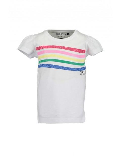 T-Shirt dziewczęcy biały w kolorowe paski