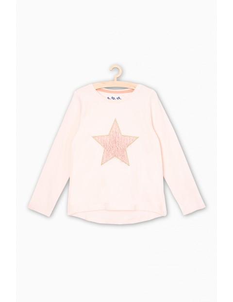 Bluzka z długim rękawem- różowa z gwiazdka