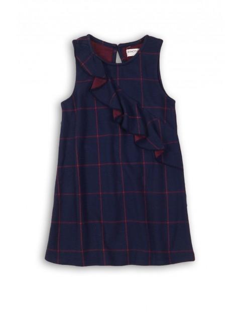 Sukienka dziewczęca- granatową w bordową kratkę
