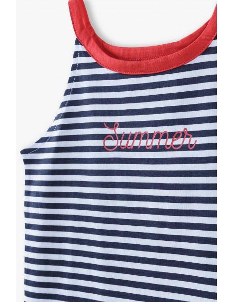 T- shirt dziewczęcy w marynarskie paski- Summer
