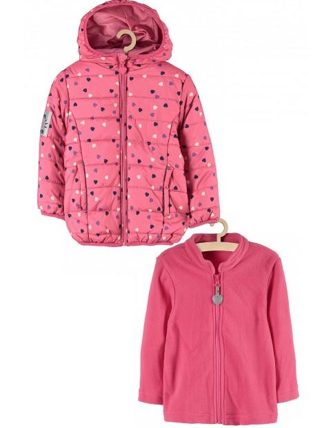 Kurtka 3w1 dla dziewczynki- różowa w serduszka