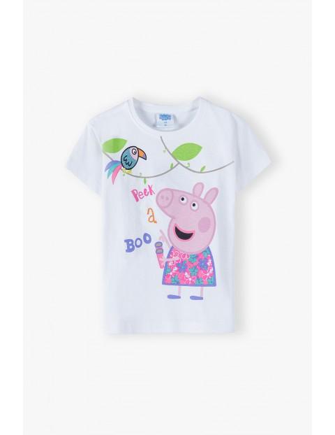 Bawełniany t-shirt dziewczęcy ze Świką Peppą - biały