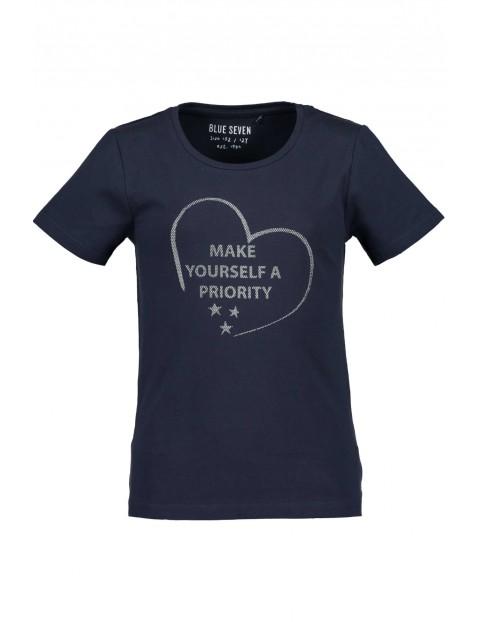 T-shirt dziewczęcy granatowy z napisem