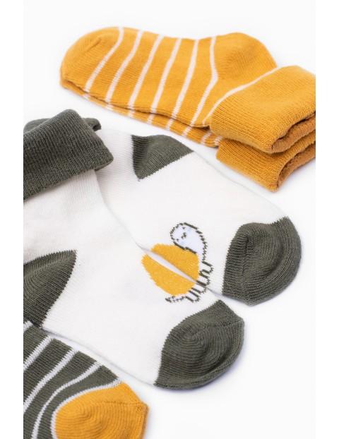 Skarpetki niemowlęce w paski Żółwik - 3 pak