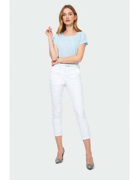 Wiskozowa niebieska bluzka na krótki rękaw