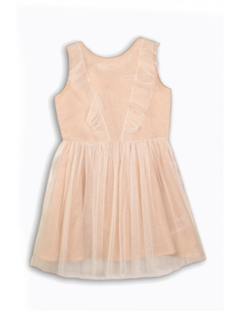 9c163923b3 Sukienka dziewczęca z tiulową falbanką- eleganckie ubrania dla dziewczynek