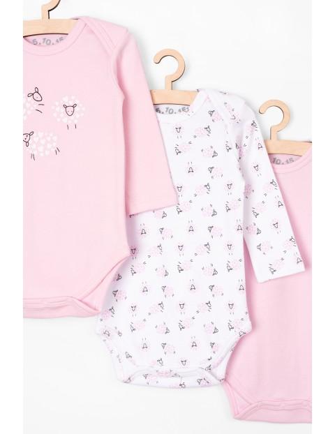 Body niemowlęce w owieczki 3 pak - długi rękaw