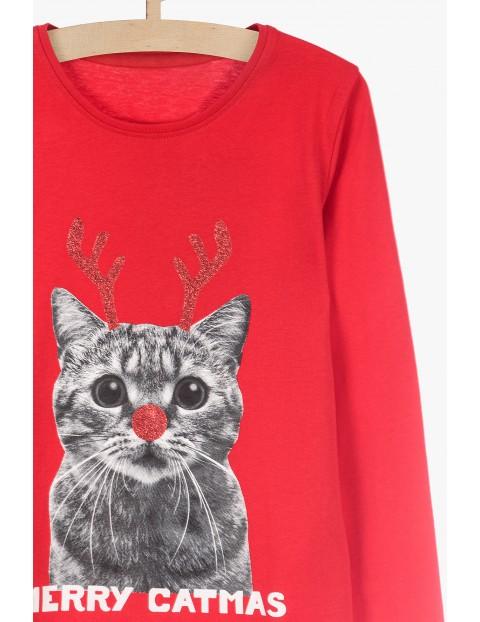 Czerwona świąteczna bluzka dla dziewczynki