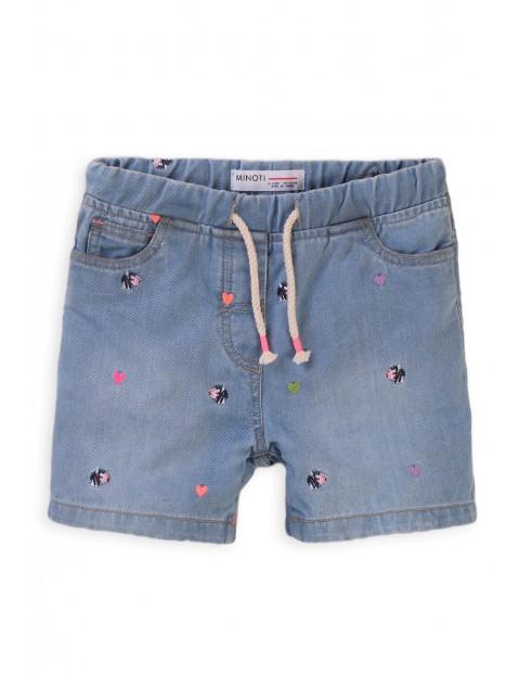 Szorty dziewczęce jeansowe z ozdobnymi haftami