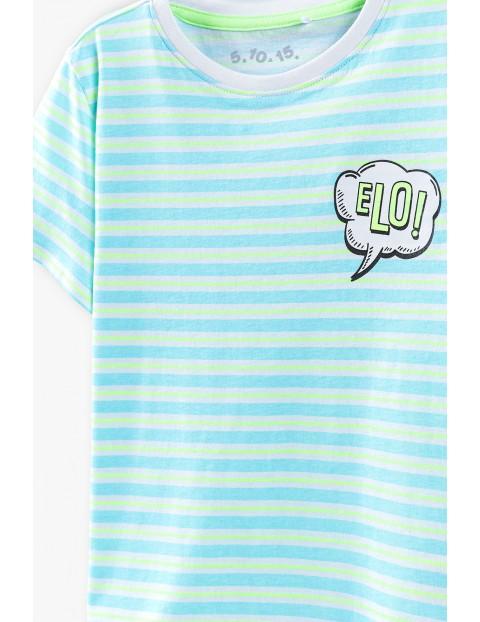 T-shirt chłopięcy dwukolorowy w paski ELO!