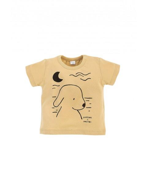 Bawełniany żółty t-shirt dziecięcy z krótkim rękawem