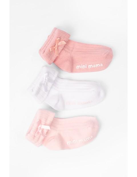 Różowe skarpetki niemowlęęce z ABSem- mini mama