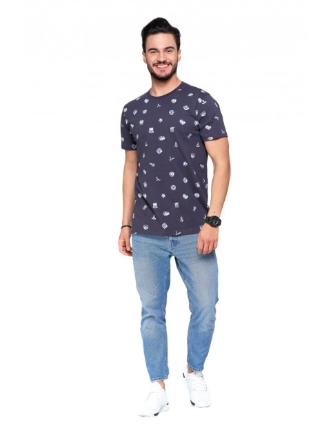 T-shirt bawełniany męski z drobnym nadrukiem