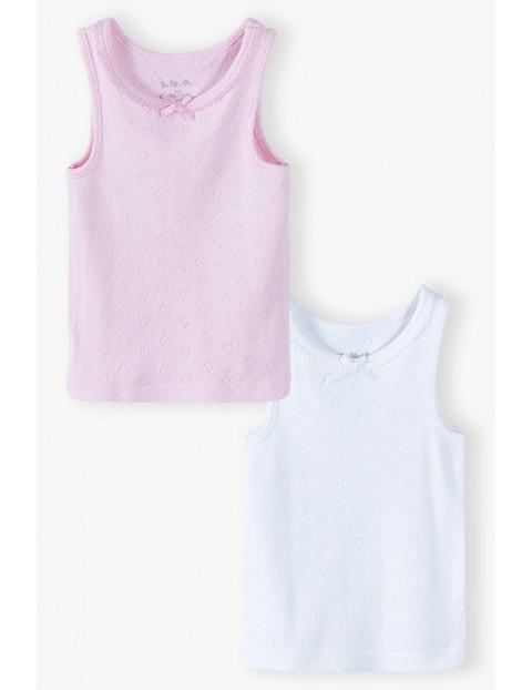 Bawełniane podkoszulki bez rękawków 2-pak - biała i różowa