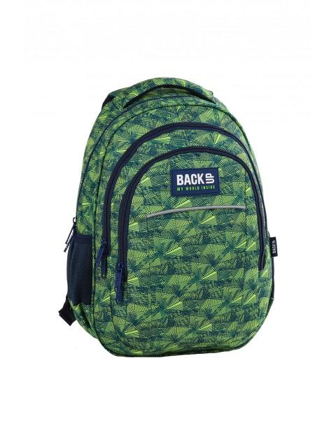 Plecak BACKUP 3komorowy - zielony z odblaskami