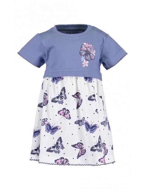 Sukienka dziewczęca niebiesko-biała w motylki