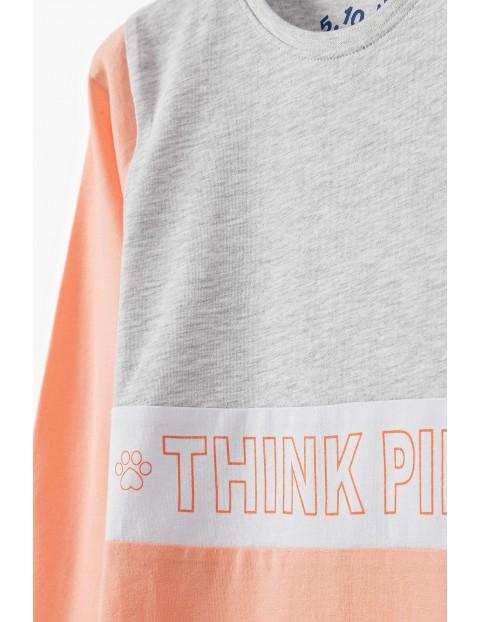Bluzka dziewczęca na długi rękaw z napisem Think Pink