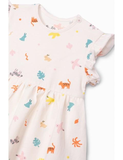 Sukienko - body dziewczęce ze zwierzątkami