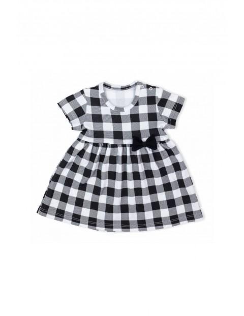 Bawełniana sukienka niemowlęca z kratkę