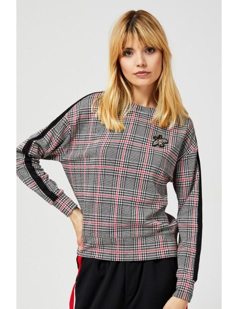 Bluza damska w kratę z lampasami i aplikacją